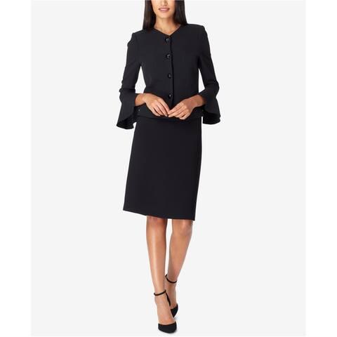 Tahari Womens Bell Sleeve Skirt Suit, Black, 4P