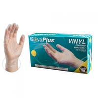 GLOVEPLUS IV Clear Vinyl Industrial Powdered Disposable Gloves (Box of 100) by AMMEX