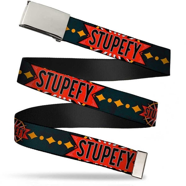 "Blank Chrome 1.0"" Buckle Stupefy Sunburst Charcoal Black Gold Red White Web Belt 1.0"" Wide - S"
