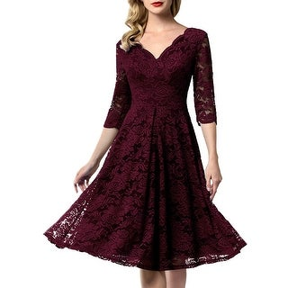 Aonour 0056 Womens Vintage Floral Lace Bridesmaid Dress Burgundy Size X Large Overstockcom Shopping The Best Deals On Dresses
