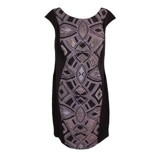Sangria Plus Size Black Cap-Sleeve Embellished Front Sheath Dress 22W