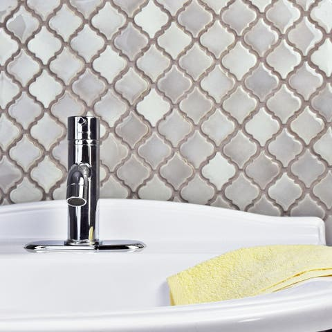 "SomerTile Hudson Tangier Dove Grey 12.38"" x 12.5"" Porcelain Mosaic Tile"