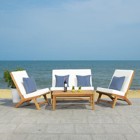 Safavieh Outdoor Living Chaston 4 Pc Living Set with Accent Pillows