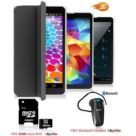 "Indigi® 7.0"" 3G Unlocked 2-in-1 Android 4.4 KitKat SmartPhone & TabletPC w/ Built-in Cover + Bundle Included(Black)"