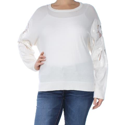 INC Womens Ivory Embellished Sequined Mesh Trim Long Sleeve Jewel Neck Tunic Sweater Plus Size: XXL