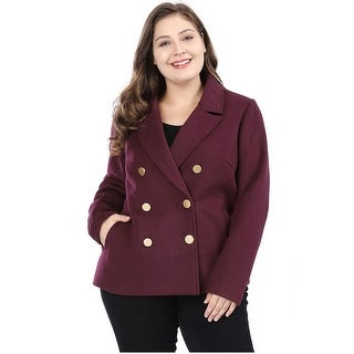 Women's Plus Size Double Breasted Notched Lapel Coat - Red