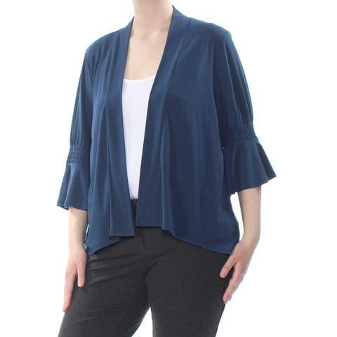 CeCe Womens Blue Size XL Smocked 3/4 Flutter-Sleeve Open Front Cardigan