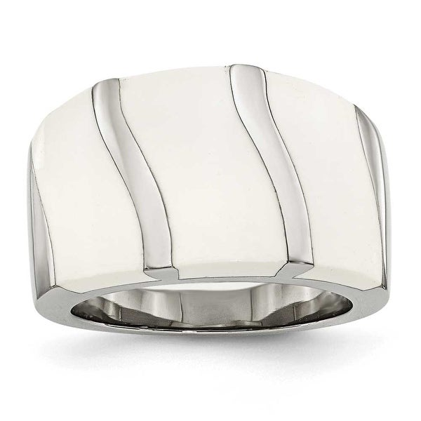 Stainless Steel White Enamel Ring (15 mm)