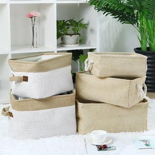 Collapsible Fabric Storage Basket Bin w Dual Rope Handles for Home Office Dorm