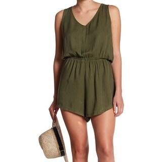 Abound Green Womens Size XL V-Neck Draped-Back Blouson Romper