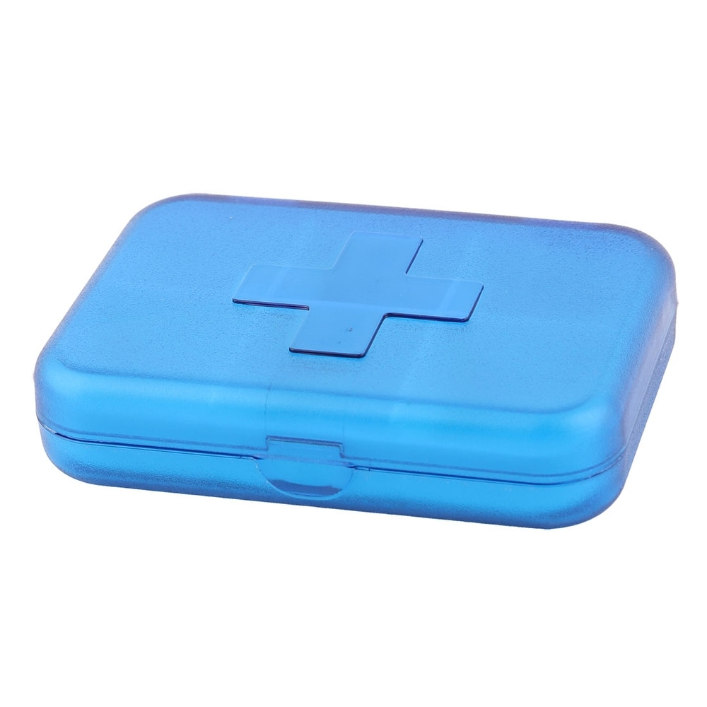 Plastic Rectangle 6 Slots Medicine Pill Capsule Storage Box Organizer Clear Blue