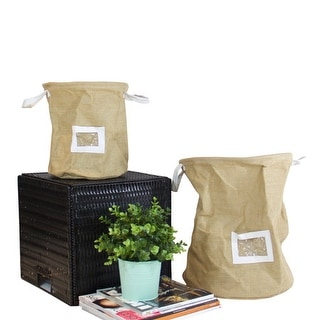 G Home Collection Drawstring Top Linen Storage Basket with Handles and Label Window (Set of 2)