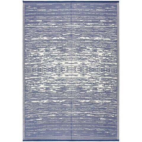 Lightweight Indoor Outdoor Reversible Plastic Area Rug - California - Blue/White