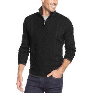Geoffrey Beene Ribbed Quarter Zip Mock Neck Sweater Black Medium M