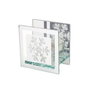"""4.5"""" Clear and Silver Mirrored Snowflake Tea Light Christmas Candle Holder"""