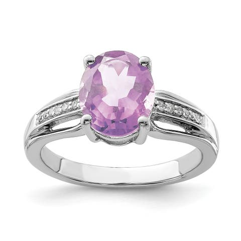 Sterling Silver Rhodium-plated Diamond and Pink Quartz Ring by Versil