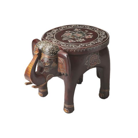 Distressed Solid Wood Elephant Accent Table in Artifact Finish