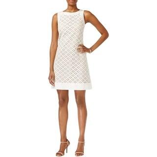 Jessica Howard Womens Missy Wear to Work Dress Linen Lace Overlay