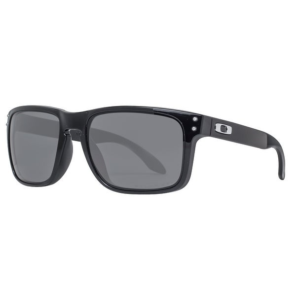 e5fc8e5de706c Oakley Holbrook OO9102-02 Polished Black Polarized Grey Square Sunglasses -  57mm-18mm-