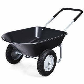 Costway 2 Tire Wheelbarrow Cart Heavy-duty Dolly Utility Cart Black