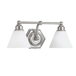 "Norwell Lighting 8532 Jenna 8"" Tall 2 Light Bathroom Vanity Light with White Glass Shades"