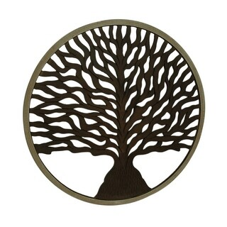 36 Inch Diameter Wooden Tree Of Life Wall Hanging