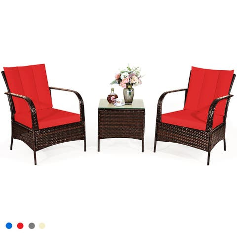 Costway 3 PCS Patio Wicker Rattan Furniture Set Coffee Table & 2