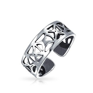 Sterling Silver Toe Rings Filigree Cutout X Mid Finger Ring