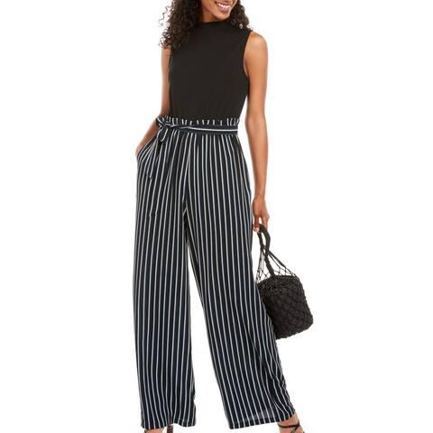 As U Wish Blue Size XL Junior Jumpsuit Striped Paperbag Tie Waist