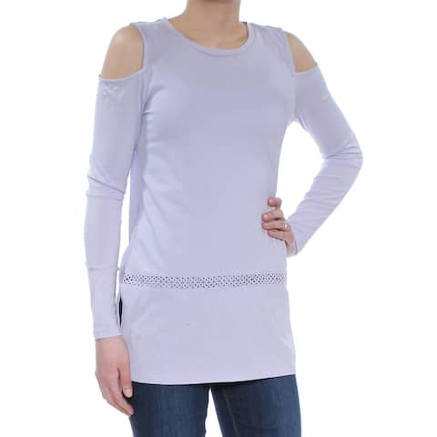 MICHAEL KORS Womens Purple Cold Shoulder Long Sleeve Jewel Neck Top Size: XS