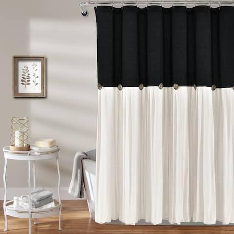 Lush Decor Linen Button Shower Curtain
