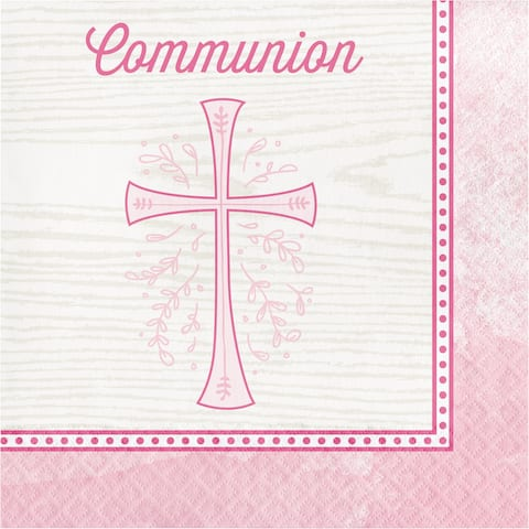 """Club Pack of 192 Pink and Beige """"Communion"""" Printed 2-Ply Luncheon Napkins 6.5"""" - N/A"""