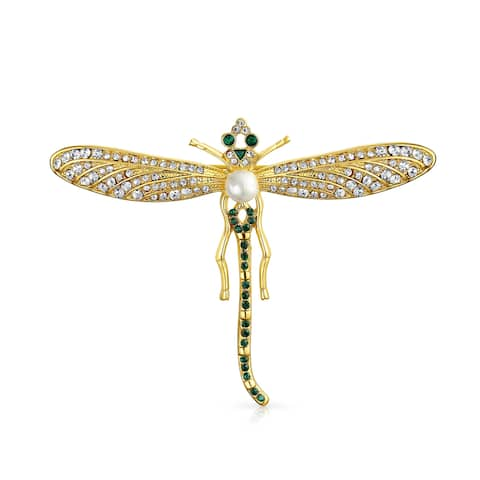 87daaea35b2 Golden Black Crystal Large Fashion Statement Garden Dragonfly Brooch Pin  For Mother For Women 14K Gold