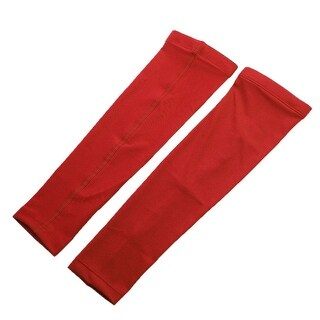 Sports Basketball Golf Cycling Sun Protection Arm Sleeves Band Red Size XL Pair