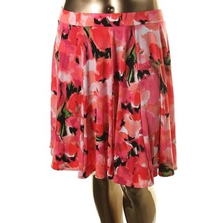 Grace Elements Womens Pull On Floral print Flare Skirt - L
