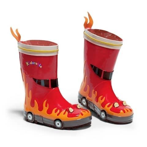 Kidorable Little Boys Red Fireman Truck Print Rubber Rain Boots 5-10 Toddler