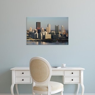 Easy Art Prints Walter Bibikow's 'Pittsburgh: Downtown View from West End Overlook' Premium Canvas Art