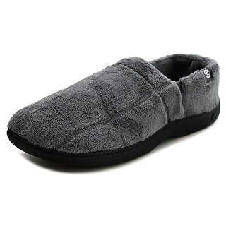 Isotoner Microterry Slipper Men Round Toe Canvas Gray Slipper