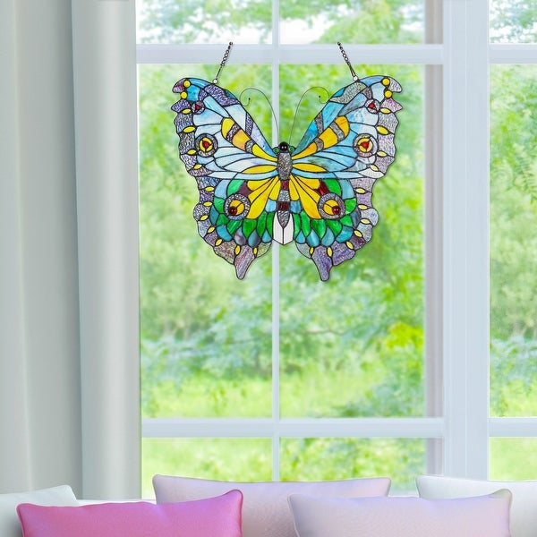 """20.5""""H Stained Glass Swallowtail Butterfly Window Panel - 21.75""""L x 0.25""""W x 20.5""""H. Opens flyout."""