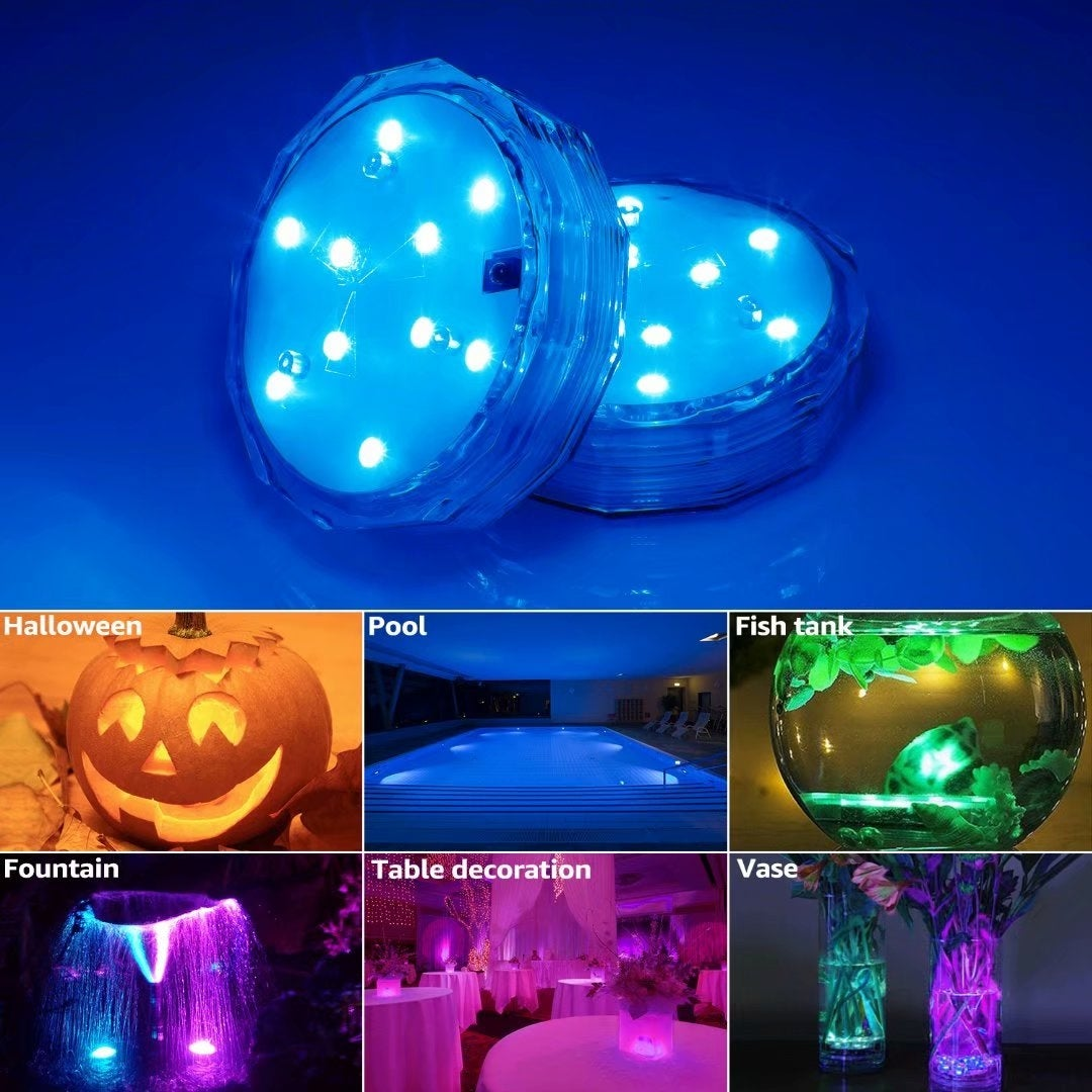 4 Pack Submersible LED Lights, Remote Controlled Wireless Multi-Color  Underwater Lights