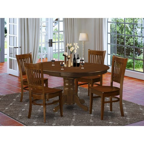 KEVA5-ESP-C 5-Pc Dining Set -Dining Table with Leaf and 4 Chairs - Espresso Finish (Pieces Option)