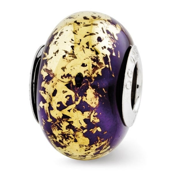 Italian Sterling Silver Reflections Dark Purple with Gold Foil Ceramic Bead (4mm Diameter Hole)