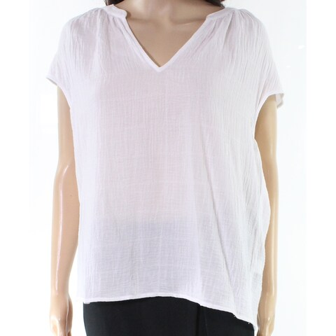 Vince Camuto White Womens Size Small S Split Neck Crinkle Knit Top