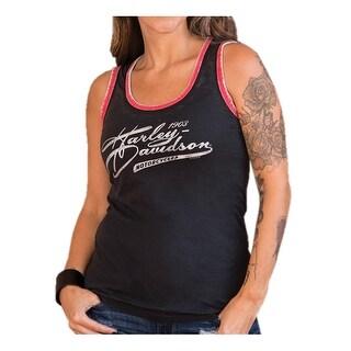 Harley-Davidson Women's Metallic Titanium Sleeveless Tank Top, Black/Red