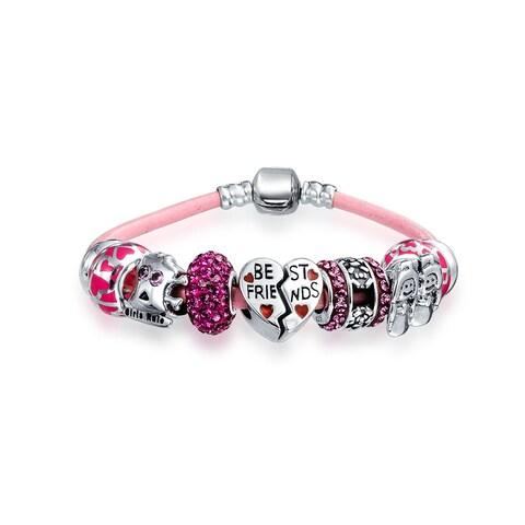 BFF Best Friends Multi European Bead Charms Bracelet Pink Genuine Leather For Women 925 Sterling Silver Barrel Clasp