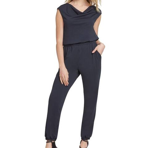 DKNY Women Jumsuit Midnight Large Draped Front Cap Sleeve