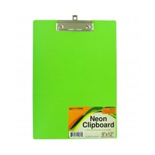 Bulk Buys GR143-32 Neon Clipboard with Steel Chrome Plated Clip