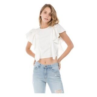 Ontwelfth Women's White Ruffle Cascade Sleeve V-Shaped Back Trendy Top