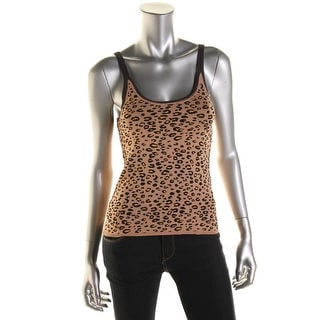 Catherine Malandrino Womens Animal Print Contrast Trim Tank Top - S