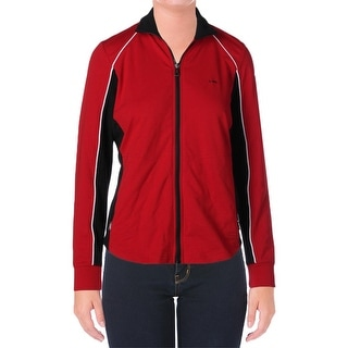 L-RL Lauren Active Womens Madison Track Jacket Colorblocked Mock Neck